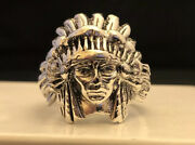 18.1 Gram .925 Sterling Silver Indian Chief Ring Native American Biker Size 10