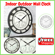 Large Indoor Outdoor Wall Clock W/ Thermometer Hygrometer Home Office Timepiece
