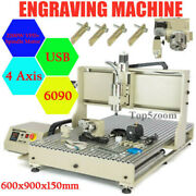Usb 4 Axis Cnc 6090z Router Engraving Machine Mill Cutting Metal Non-metal 2.2kw