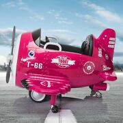 Tobbi 12v Electric Ride On Plane Toy With Foldable Wings Remote Control Pink