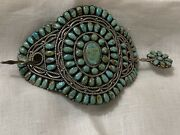 Vintage Navajo Native American Hair Ornament Of Turquoise And Silver