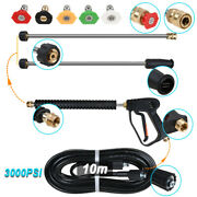 Power Pressure Washer Spray Gun Wand Lance And Tips Water Hose Pumps Up To 3000psi