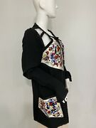 Vintage Karl Lagerfeld Beaded Jacket W Cutouts Made In France Fr 46