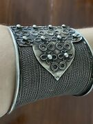19th C Antique Old Ethic Tribal Large Silver Cuff Bracelet - India - Not A Copy