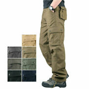 Menand039s Tactical Cargo Army Work Trousers Combat Outdoor Pocket Pants Plus Size ++