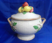 Fitz And Floyd Fruit Fair Round Covered Vegetable Bowl Basketweave Fruit Finial