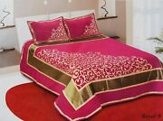 New Vintage Pink Chenille 500 Tc Double Bedsheet With 2 Pillow Cover King Size