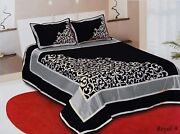 Bedding Set Black Chenille 500 Tc Double Bedsheet With 2 Pillow Cover King Size
