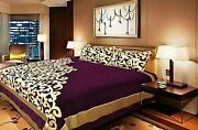 Purple King Expensive Chenille Velvet 500 Tc Double Bedsheet With 2 Pillow Cover