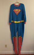 Supergirl One Piece Footed Footie Pajamas Plush Pink Blue Cape 2x Plus