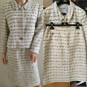 Vintage Collectible Cc Buttons Skirt And Jacket Set Suit Fr42 Us8-10