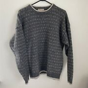 Woolrich Wool Blend Menand039s Xl Gray/brown Long Sleeve Crew Neck Sweater 9369 Euc