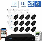 16ch 4k Nvr 12 X 6mp 2048p Poe Ip Outdoor Microphone Security Camera System 4tb