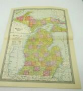 Michigan Counties Color Map Book Illustration Plate Pastel Antique Vintage