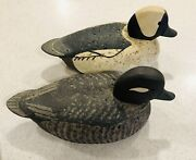 Pair Of Vintage Hand Made Wood/cork Duck Decoys By John Hendley, Middlefield, Ct