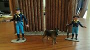 Custom Painted Marx Figures Rin Tin Tin, Rip Masters And Rusty W/ Ft Apache Gate