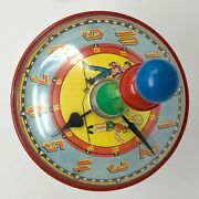 Vintage Rare 1958 Ballies Furth Spinning Top Toy Clock Time Made In West Germany