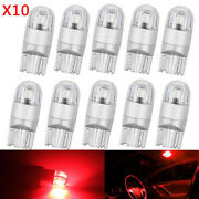 10x Red T10 3030 W5w 194 168 2-smd Led Reading License Plate Light Side Dsl `h2
