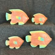 Set Of 4 Fish Large Wood Carved Painted Freestanding Sculptures Statues Figures