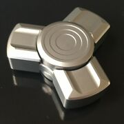 Stainless Steel Tri Fidget Spinner With Satin Bead-blasted Finish