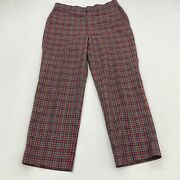 Vintage Wedgewood Golf Pants Mens 34x29 Blue Red Green Yellow Plaid Flat Front