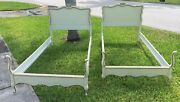 Vintage Pr 1950s 1960s Painted French Provincial Twin Beds White Gold Headboards