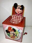 Rare Mint Antique 1950 Mattel Mickey Mouse Tin Jack Box Toy Vintage Early Museum