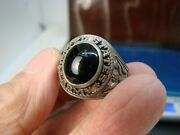 Ww2 Us Military Army Sterling Silver Black Stone Ring Crest Craft Sz 8 Subrc4