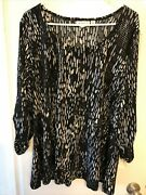 Nwot Susan Graver Womenand039s Plus 1x Black Embellished Pullover Tunic 3/4 Sleeve