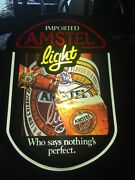 Vintage Amstel Light Who Says Nothing's Perfect Lights Up Hanging Beer Sign