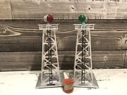 Lionel 394 Rotary Aluminum Silver Beacon Towers O Gauge Tested
