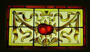 Victorian Old English Leaded Stained Glass Window Hand Painted Fruit 25 X 15