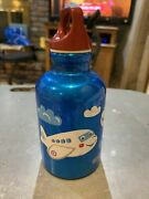 Kids Sigg Blue Airbuses Water Bottle 0.3 Lt/10 Oz. Shiny Blue With Clouds Camp