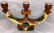 """Handmade/painted Ceramic Candelabra With Cacti On Body. Brown/green Mexico 7""""x11"""