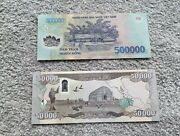 500000 Vnd Half Million Vietnamese Dong And 50000 Iraqi Dinar Excellent Condition