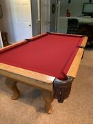 7' Golden West Pool Table With Carved Oak Legs