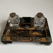 Antique Walnut And Brass Desk Set Stand With Original Ink Wells, Stamp Andpen Tray