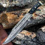 17 Timber Rattler Damascus Fixed Blade Knife Bowie Western Hunting Survival