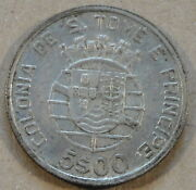 Saint Thomas And 1939 5 Escudos Nice Better Grade Coin With Luster
