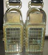Pair Of Vintage Caged Brass Oil Lamps Lanterns Whale Whaling Boating