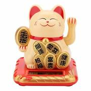 Mugast Solar Powered Waving Arm Fortune Cat Welcoming Lucky Wealth Cat Fengsh...