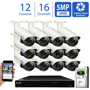 16ch Nvr 12 X 5mp 2.8-12mm Varifocal Microphone Ip Bullet Security Camera System