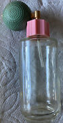 """Vtg Empty """"little Lady"""" Perfume Bottle/3.5"""" Tall/green Rubber Atomizer/pink Lid"""