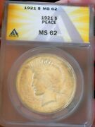 Peace Silver Dollar 1921 Anacs Ms 62 Stunning Lightly Toned Beauty