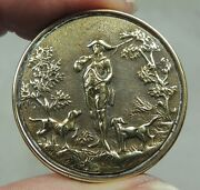 Antique Brass Picture Button George Washington And Hunting Dogs