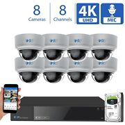8 Channel Nvr 8 4k Microphone Varifocal Ai Ip Poe Dome Security Camera System