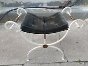 Vintage French Regency Wrought Iron U Bench Foot Stool Vanity Seat Metal And Brass