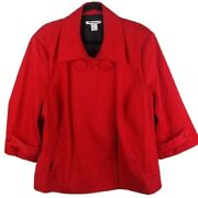Nygard Collection Sz 22 Red Button Front Textured Fabric Plus Size Swing Coat