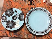 Set Of 8 Gates Ware By Laurie Gates Floral Brown Cafe Blues Dinner Plates
