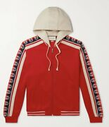 Gg Logo Webbing-trimmed Tech-jersey Zip-up Hoodie Bomber Jacket Red Menandrsquos